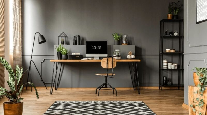 Home Office Setup Desk Chair and Bookcase
